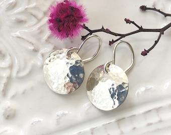 13mm Sterling Silver Earrings, Dangle Earrings, Hammered Disc Earrings, Simple Silver Earrings, Disc Earrings, Everyday Drop Earrings