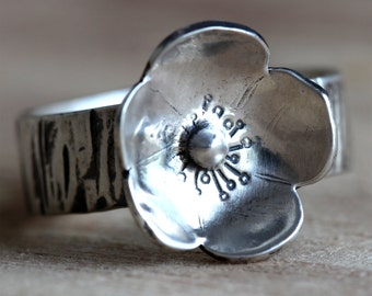 Sterling Silver Ring, Flower Ring, Boho Jewelry, Silver Rings for Women, Bohemian Ring, Silver Flower, Floral Ring, Flower Ring for Women