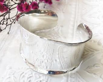 Sterling Silver Wide Cuff Bracelet, Handmade Jewelry, Womens Bracelet Gift for Mom, Statement Bangle Bracelet