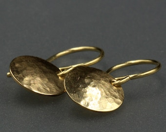 9mm Gold Disc Earring Solid Gold Earring 14k Gold Earring Gold Earring Dangle Gold Disk Earring Gold Disc Drop Earring Solid Gold Hammered
