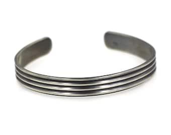 Sterling Silver Men's Bracelet, Personalized Bracelet for Men, Sterling Silver Cuff Bracelet, Dad Birthday Gift