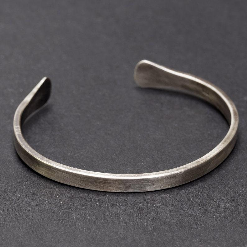Sterling Silver Bangle  Silver Cuff Bracelet  Men's image 1