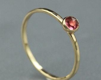 14k Gold Dainty Garnet Ring - Rhodolite Garnet - Birthstone Rings for Women
