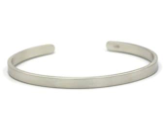 Sterling Silver Bracelet for Men or Women, Engraved Bracelet, 5mm Cuff Bracelet,