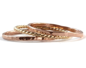 Gold Stacking Rings, Ring Stack, Stackable Ring Set, 14k Rose Gold, 14k Yellow Gold