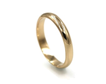 Solid 14k Gold Ring - Simple Wedding Band for Women - Thin 3mm Wide Gold Ring - Handmade Jewelry