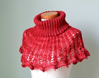SALE, HALF PRICE,  Red  crochet knitted capelet poncho cowl H805