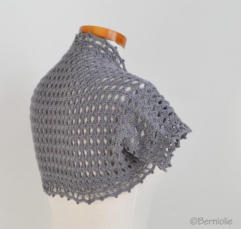 P482 bolero Cotton Size XS  S grey Crochet shrug