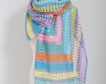 Crochet shawl, stripes, Q536