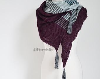 Knitted shawl, plum, grey, green shawl,  P436