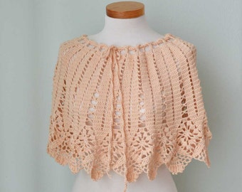 SALE, HALF PRICE, Peach lace crochet poncho skirt top  G719