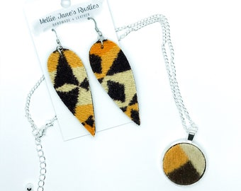Wool Charm Necklace Choker and Leaf Earrings Gift Set