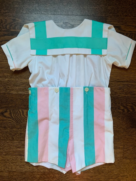 Vintage Boys Candy-Striped Button-on Bobby Suit