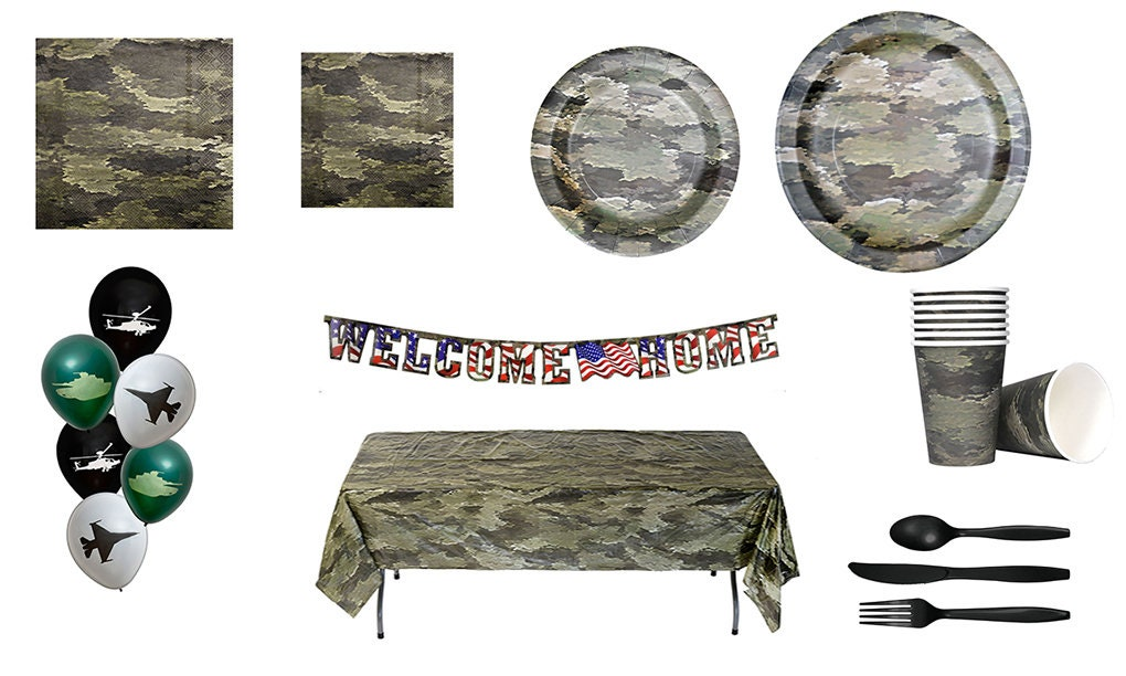 American Heroes Camo Military Camouflage Birthday Party Vinyl Decorating Kit