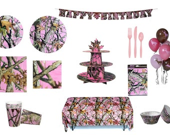 Pink Camo Party in a Box Birthday Party Ware - Decorations for a Special Celebration 7693-00 fnt