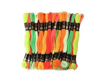 Embroidery Floss - Assorted Neon Colors - 24 pieces HS1500 fnt