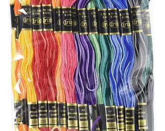 Iris Cotton Embroidery Floss - Variegated Colors - 36 skeins - 8.75 yards per skein 1184-97 fnt