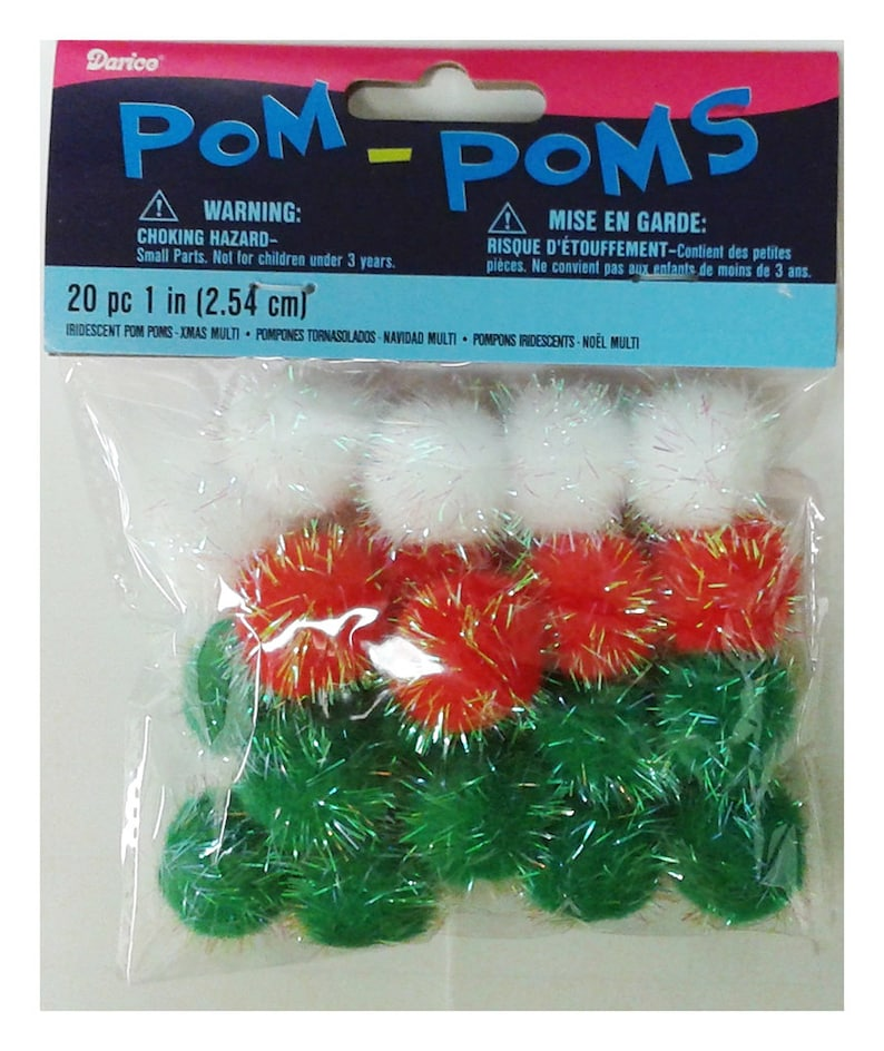 Green 1//2 Inch-2 Inch Assorted- 100 pcs Darice Acrylic Pom Poms White Holiday Colors Red