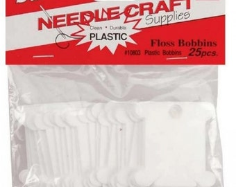 Plastic Floss Bobbins for Embroidery Thread and Yarn 25 each fnt
