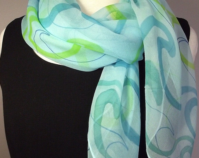 "Hand Painted Square Silk Chiffon Scarf 36 x36"", Turquoise with Blue, Lime and Teal Waves Pattern"