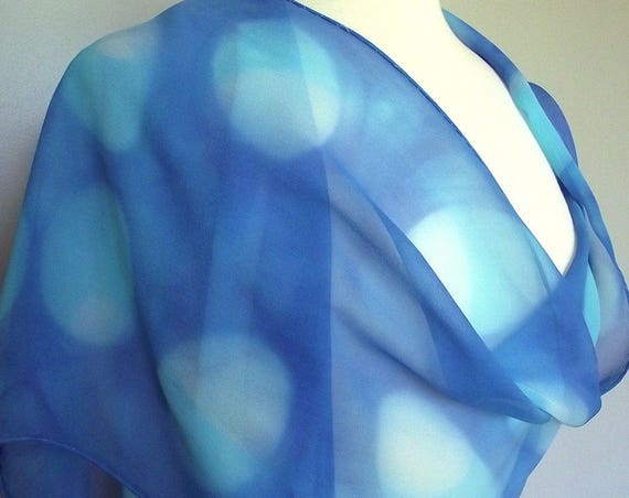 "Hand Dyed Silk Chiffon Scarf 13 x 70"", Turquoise, White and Blue, Large Ovals, Modern Design"