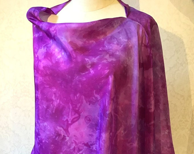 Asymmetrical Poncho, Shawl, Shrug, in Hand Dyed Silk, Magenta, Wild Plum, Purple - 22 x 72""