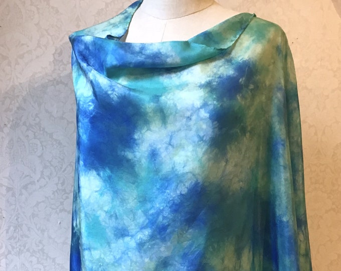Asymmetrical Poncho, Shawl, Shrug, in Hand Dyed Silk, Turquoise, Blue, White Sky Design  22 x 72""