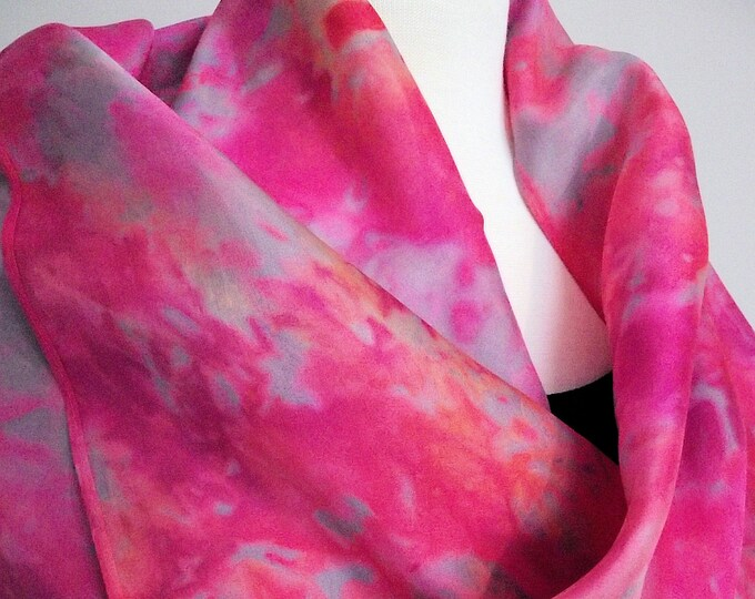 "Hand Dyed Shibori Silk Scarf, Pink, Grey, Coral - Straight or Infinity Loop Scarf 14x72"""