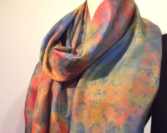 """Hand Dyed Shibori Silk Scarf, Gold, Coral and Brilliant Blue, Straight or Infinity Loop Scarf 14x72"""""""