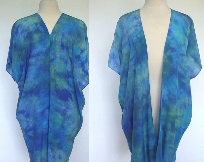 Silk Kimono-Hand Dyed Silk- Turquois, Blue Green - S-XL