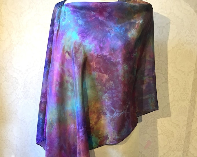 Asymmetrical Poncho, Shawl, Shrug, in Hand Dyed Silk, Multicolour, Blue, Purple Turquoise, Gold - 22 x 72""