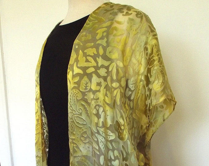 Silk Kimono-Hand Dyed Silk - Shorter Style - Gold and Green dyed Silk and Rayon Devore Fabric- S-XL