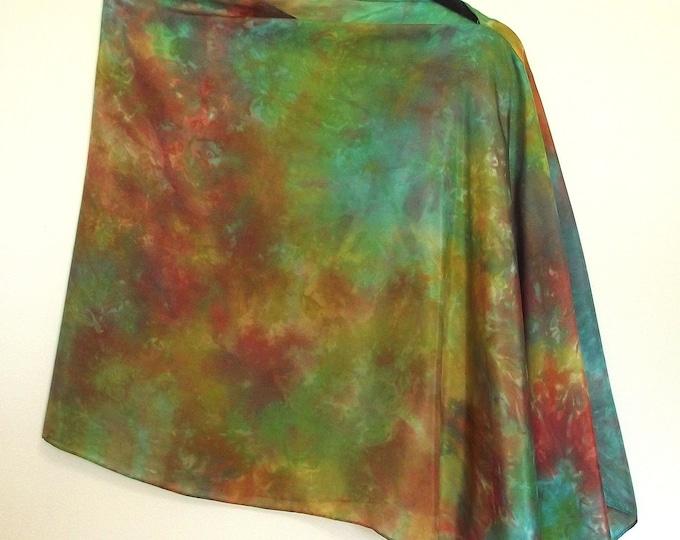 "Asymmetrical Poncho, Shawl, Shrug, in Hand Dyed Silk, Gold, Rust, Turquoise, Green - 22 x 72"""