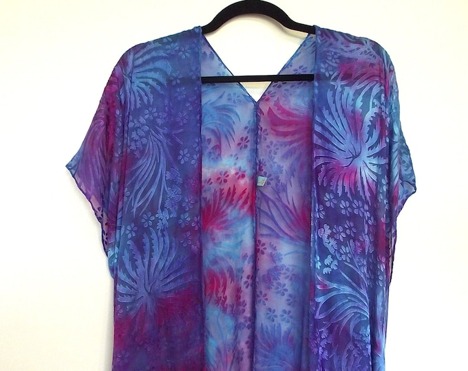 Silk Kimono-Hand Dyed Silk - Shorter Style - Turquoise, Blue, Purple & Fuschia- Dyed Silk and Rayon Devore - S-XL
