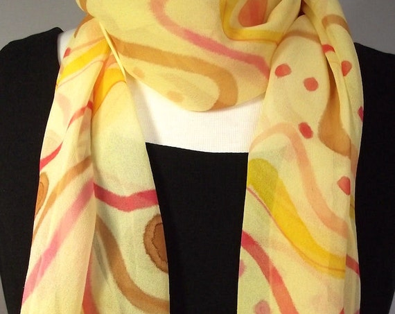 "Hand Painted Silk Chiffon Scarf 13 x 70"", Rich Yellow with Abstract Pattern in Red, Gold, Caramel and Coral"