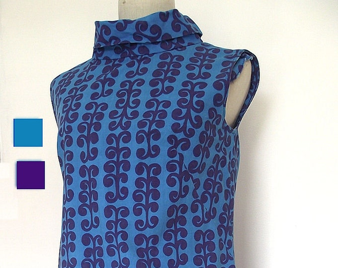 1960s Vintage Mod Shift Dress, Tampella Finland Designer Cotton, Turquoise and Purple, Size Small