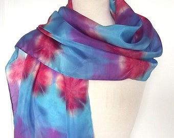 """Hand Dyed & Block Printed Silk Scarf - Turquoise, Purple, Blue and Red - 15x72"""""""