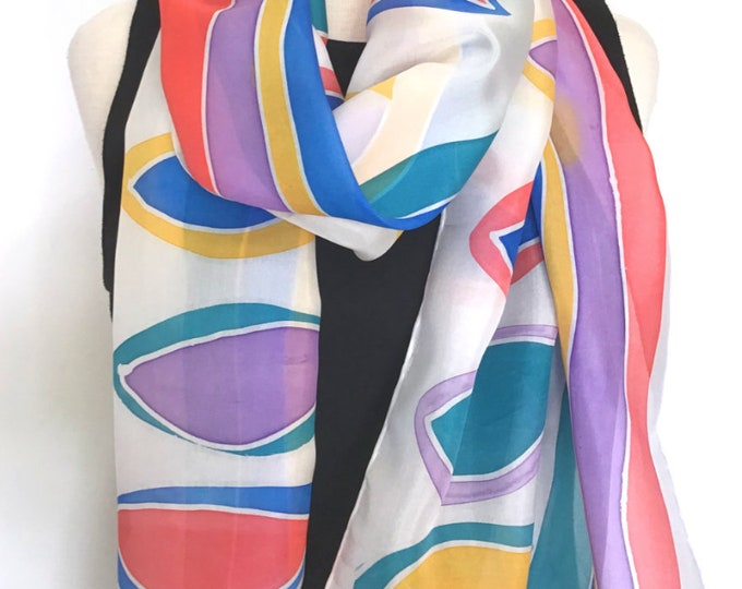 Hand Dyed & Painted Silk Scarf, Abstract Design in Purple, Coral, Turquoise, Yellow and Blue on White 15x72 inches