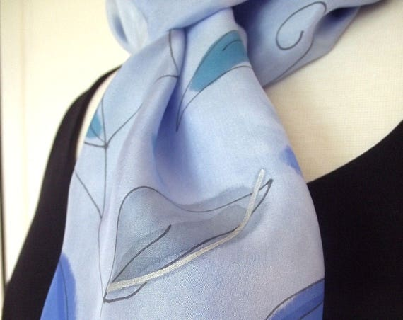 "Hand Painted Silk Infinity Scarf, 9x60"", Cornflower Blue with Painted Leaves in Turquoise, Grey and Blue-Black Line Drawing"