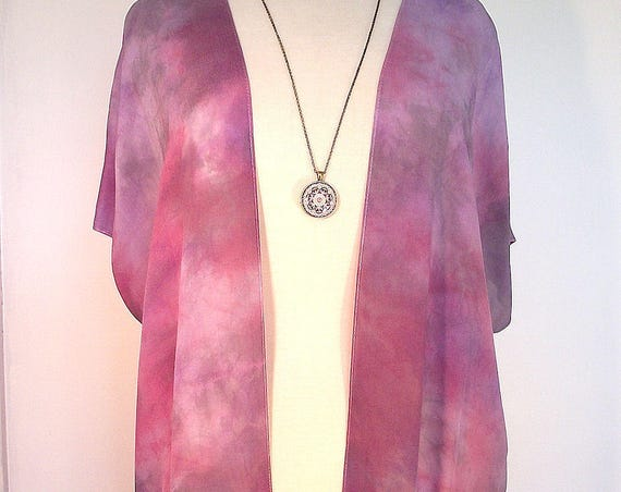 Silk Kimono - Hand Dyed Silk - Red and Grey Shibori in Elegant Silk Crepe -Size S-XL
