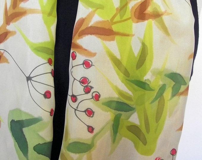 "Hand Painted Silk Infinity Scarf,  11x60"", Pale Gold with Painted Leaves & Red Berries, Green, Caramel Red, Fall Colours"