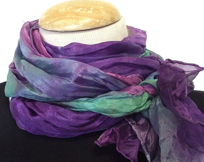 Hand Dyed Silk Scarf, Crinkled Silk Travel Scarf - Seafoam, Pink, and Purple - 14x72""