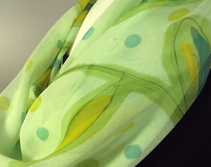 "Hand Painted Silk Chiffon Scarf 36 x 36"", Soft Green with Green, Turquoise and Yellow Leaf Pattern"