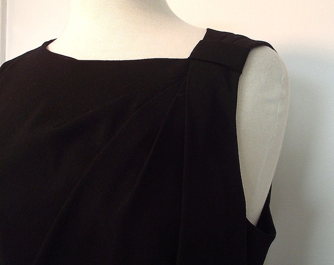 Vintage Calvin Klein Black Sleeveless Dress - Asymetrical Neckline, Faux Leather Waist - Size 12