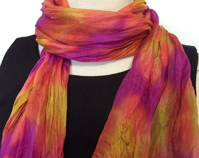 Hand Dyed Silk Scarf, Crinkled Silk Travel Scarf - Gold, Orange, Fuschia - 14x72""