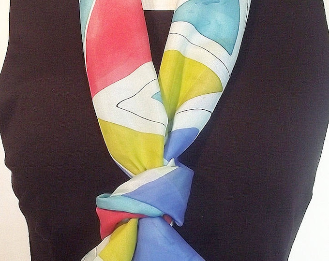Hand Painted Silk Infinity Scarf -  Modern Abstract in Red, Turquoise, Royal Blue and Avocado with Black Graphic Lines - 9 x 60 inches
