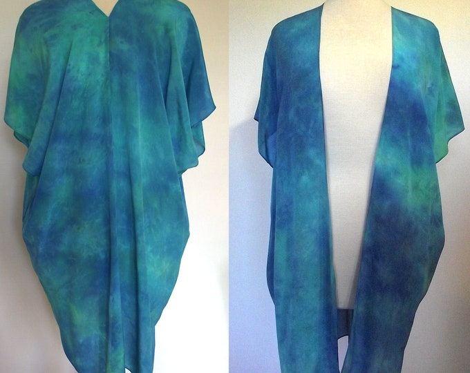 Silk Kimono-Hand Dyed Silk- Teal Green, Blue - S-XL