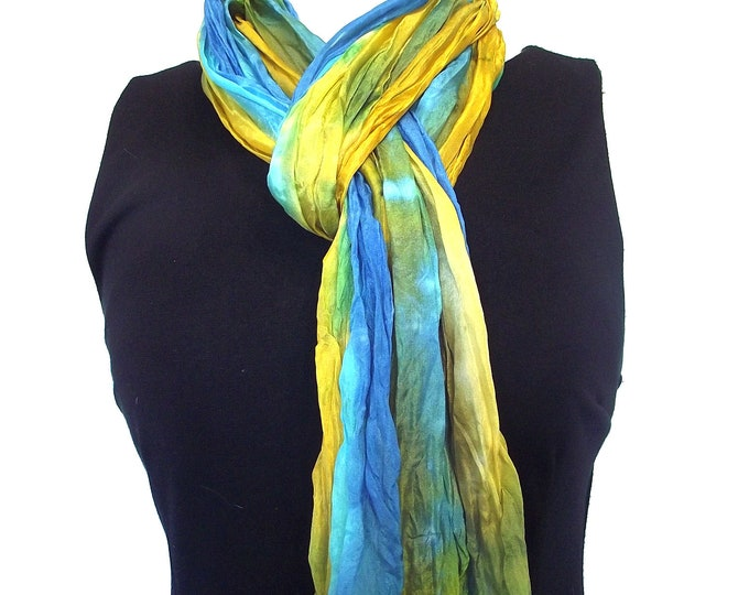 """Hand Dyed Silk Scarf, Crinkled Silk Travel Scarf - Gold, Mustard, Turquoise, Blue & Olive, 14x72"""""""