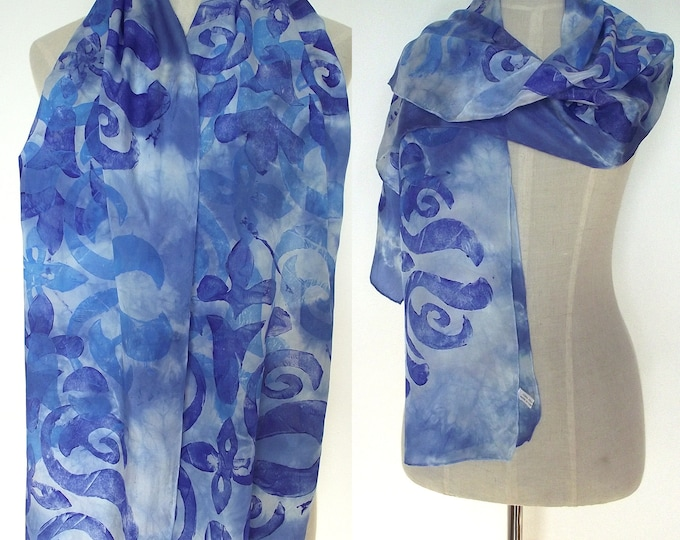 Hand Dyed and Block Printed Silk Scarf, Blue, Turquoise and White, 15 x 72""
