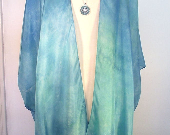 Silk Kimono - Hand Dyed Silk - Seafoam Aqua Shibori Dyed in Shimmery Silk Habotai -Size XL-2X